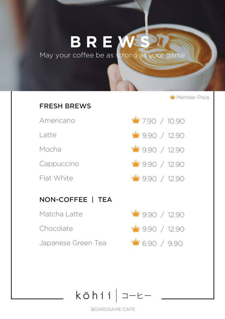 Cafe Menu Kohii Board Game Online Store